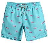 MaaMgic Trajes de Baño para Hombres Bañador para Vacaciones en la Playa Secado Rápido Piscina Nadar Azul Claro Tiburón M