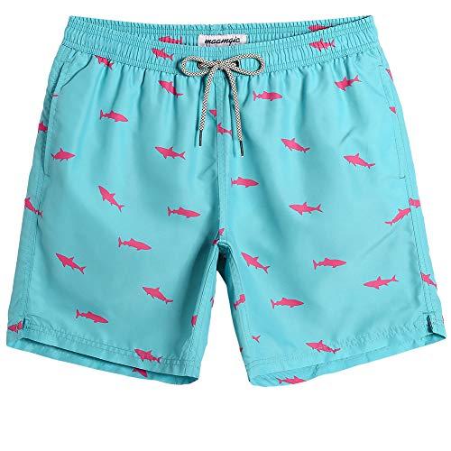 MaaMgic Bañador Hombre Shorts de Baño para Hombre Shorts de Playa Traje de Baño para Natación Secado Rápido para Vacaciones Ancla,Azul Claro Tiburón,M