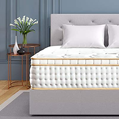 BedStory 12 Inch Gel Hybrid Mattress Full XL, White Luxury Spring Mattress Individually Encased Pocket Coil Mattress Built-in 2 Layers Airflow Convoluted Foam Medium Firm Euro Top