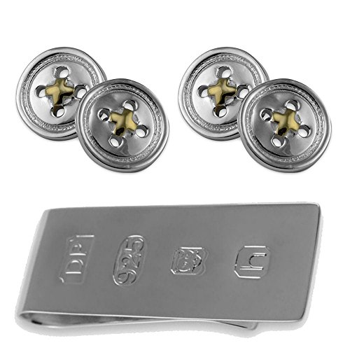 Botón en plata esterlina gemelos con hilo de oro James Bond Money Clip Box Set