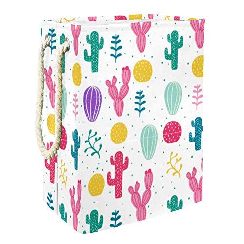 EZIOLY Cesta de lavandería colorida cactus, plegable, con asas y soportes desmontables, resistente al agua, para ropa, juguetes, organización en la sala de lavandería, dormitorio