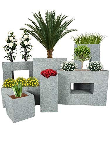 Pflanzwerk® Pflanzkübel Vista Lava Hellgrau 96x45x27cm Blumentopf *Frostbeständige Blumenkübel* *UV-Schutz* *Premium Pflanzenkübel Qualität*