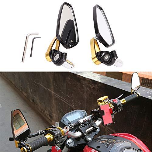 Espejos retrovisores de la motocicleta lateral universal con extremo de barra manillar de aleación de aluminio de 7/8' 22 mm para Scooter Cruiser Sport Bike Chopper