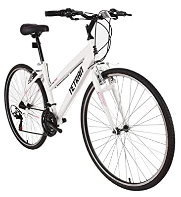 Tetran Journey - 700C Hybrid Bike, Alloy Frame and Rims, 21 Speed with Shimano Tourney, Unisex, Wine Red and White (White)