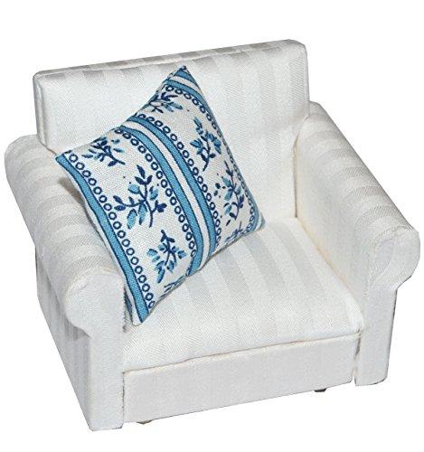 alles-meine.de GmbH Miniatur -  Sessel mit Kissen  - für Puppenstube Maßstab 1:12 - Puppenhaus - Puppenhausmöbel Sofasessel Wohnzimmer Klein / Wohnzimmermöbel
