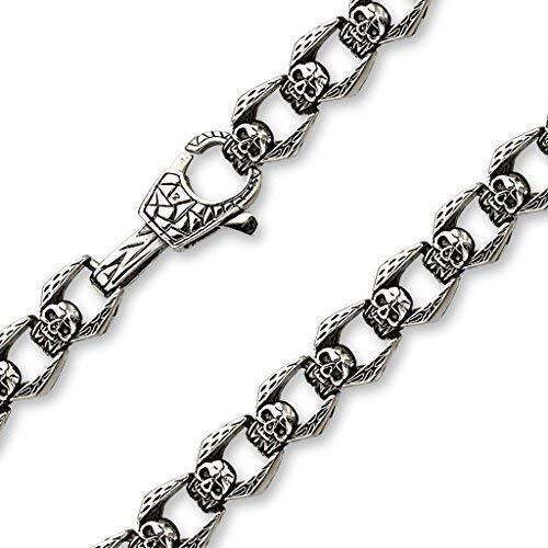 Coolbodyart acciaio inox Biker catena collana con teschi in silicone a forma di teschio in argento nero, argento lunghezza 580 mm spessore: 13,5 mm CBASBS-0104