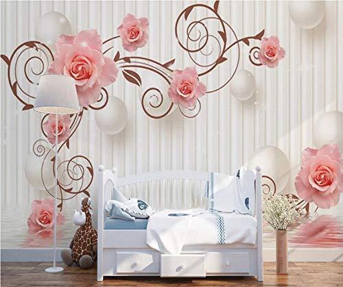 Wallpaper Murales Flor Rosa 3D Y Esfera Blanca Fotomurales Para Hotel