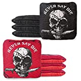 Play Platoon Tournament Series Cornhole Bags - Pro Style Dual Sided Slick and Sticky Side Bags - Designed in USA - 4 Red & 4 Black Never Say Die Pirate Skulls