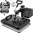 VEVOR Heat Press Machine, 12 x 15 Inch, 5 in 1 Combo Swing Away T-Shirt Sublimation Transfer Printer with Teflon Coated, Mug/Hat/Plate Accessories Included, ETL/FCC Certificated, Black