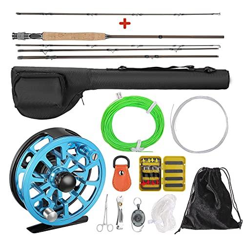 KOSIEJINN Combos De Caña y Carrete Pesca con Mosca 5 Piezas Juego De Iniciación Completo De Pesca con Mosca Fly Rod y Carrete Aluminio Mecanizado CNC Portátil Kit De Accesorios De Pesca con Mosca