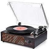 Giradischi Vinili Giradischi Bluetooth Portatile 3 Velocitਤ 33/45/78 RPM Giradischi con Altoparlanti Stereo Integrati supporta uscita AUX/RCA/Jack per cuffie/MP3/Wireless con copertura antipolvere