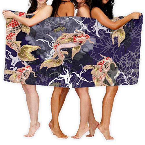 Fun Life Art Toalla de baño con diseño de peces y peonías para spa y playa, 51 x 80 cm