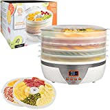 MasterChef Food Dehydrator w 5 Trays and Digital Temperature Controls- Dehydrating Machine includes FREE Recipe Guide- Overheating Protection + 8L Capacity- Dry Fruits, Vegetables Beef Jerky & More