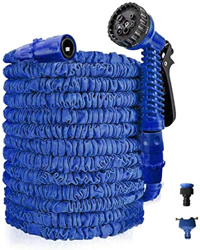 ZDC Best Expandable Garden Hose - 25/50/75/100 Feet Strongest Triple Core Latex and Solid Brass Fittings Free Spray Nozzle 3/4 USA Standard Easy Storage Kink Free Flexible Water Hose (50ft/15m, Blue)