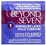 Beyond Seven Studded with Brass Lunamax Pocket Case, Premium Ribbed Latex Condoms-24 Count
