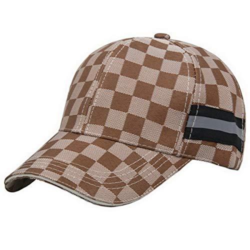 Ukerdo Uomo Baseball Sole Cappelli Tempo Libero Sport Caccia Golf Viaggio Regolabile Plaid Confortevole Cappellini - Cachi Marrone