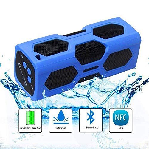 Ronshin luidspreker, draagbaar, Bluetooth, draadloos, waterdicht, powerbank, ultra bas subwoofer, blauw