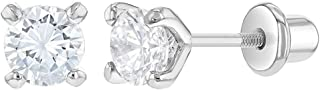 925 Sterling Silver Prong Set CZ Screw Back Earrings for Girls 4mm