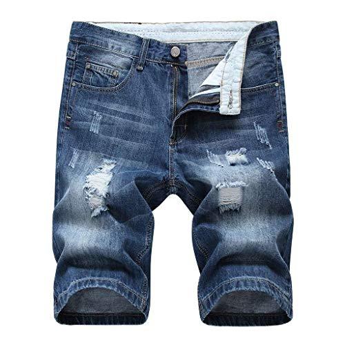 Herren Sommer Loch Reißverschluss Shorts Vintage Denim Classic Lose Style Jeans Hosen Jogging Pure Color Sport Trainingsshorts (Color : Blau, Size : XL)