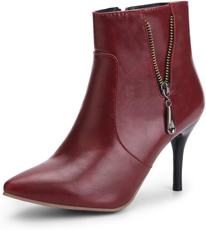 OCHENTA Women's Dressy Pointed Toe Stiletto High Heel Ankle Boots