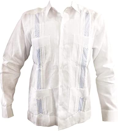 Guayabera Hombre Manga Larga 100% Lino Estilo Clásico, Blanco Guayabera 4 Bolsas y Tucks con Detalles Finos Azul Cielo.