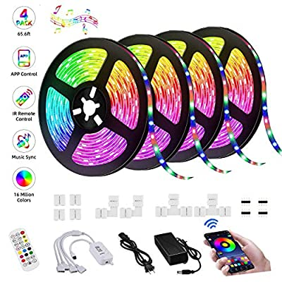 LED Strip Lights, 65.6FT/20M RGB Strip Lights Music Sync, App Control with Remote, 5050 RGB LED Light Strip Color Changing, Sensitive Built-in Mic,LED Rope Lights for Home TV Party,Bedroom,Kitchen