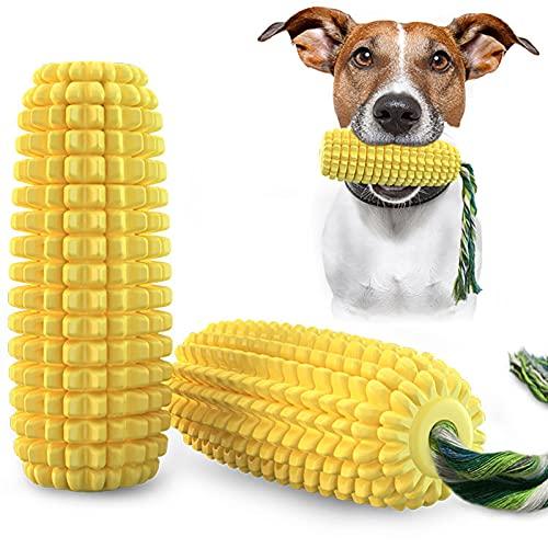 Tollk Lesse Unzerstörbares Kauspielzeug,Maiskolben Hundezahnbürstenspielzeug,Langlebiger Gummi Quietschspielzeug für Große Mittlere Hunde 360° zahnpflege gegen mundgeruch bei Hunden