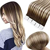 Full Shine 14 Inch Tape In Hair Extensions Human Hair Ombre Balayage Hair Extensions Tape Dark Brown Roots Color 3 Fading To 8 Light Brown And 22 Blonde Highlighted Extensions 20 Pieces 50 Grams
