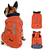 Morezi Dog Coat with Reflective strim, Winter Dog Jacket Water Resistant underbelly Warm Puppy Suit with Harness Hole - Suitable for French Bulldog, shitzu, Jack Russell Terrier - L - Orange