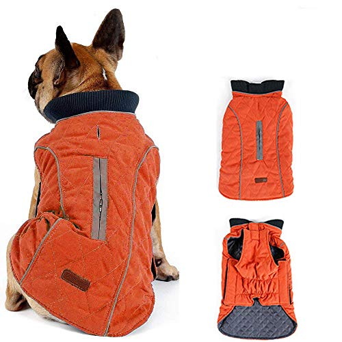 Morezi Dog Coat with Reflective strim, Winter Dog Jacket Vest Warm Puppy Coat with Harness Hole 5 Colors - L - Orange