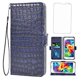 Asuwish Compatible with Samsung Galaxy S5 Wallet Case with Tempered Glass Screen Protector and Flip Cover Card Holder Cell Phone Cases for Glaxay S 5 Neo Gaxaly 5S Galaxies GS5 G900A G900T Women Blue