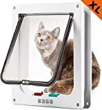success Large Cat Doors for Exterior and Interior Doors, Pet Door with Magnetic and Automatic 4-Way Locking Flap, Fits Most Door, Wall Sizes, for Large Cats and Dogs, Extra Large(White)