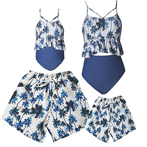 Ulikeey Matching Swimsuit for Family, Mommy and Me, Dad and Son, Coconut Trees 2 Piece Bikini Set