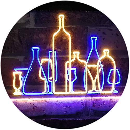 ADV PRO Bar Pub Club Home Decoration Cocktails Display Dual Color LED Enseigne Lumineuse Neon Sign Bleu et Jaune 300 x 210mm st6s32-i3187-by