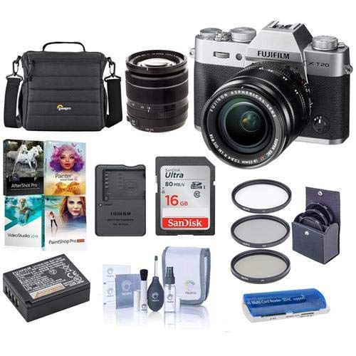 Fujifilm X-T20 Mirrorless Digital Camera Body, with XF 18-55mm F2.8-4 R LM OIS Lens, Silver - Bundle with Camera Case, 16GB SDHC Card, 58mm Filter Kit, Cleaning Kit, Card Reader, Software Package