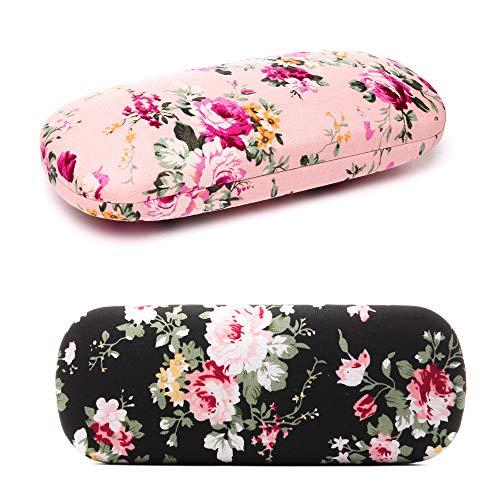 Brillenetui für Damen, Blumenmuster, Hartschale, klein, schmal, für Damen und Mädchen Gr. One size, Farbe: Pink / Schwarz