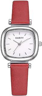 Lady Quartz Watch, Fashionable Unique Rectangle Dial Quartz Movement Wristwatch PU Leather Watch Band