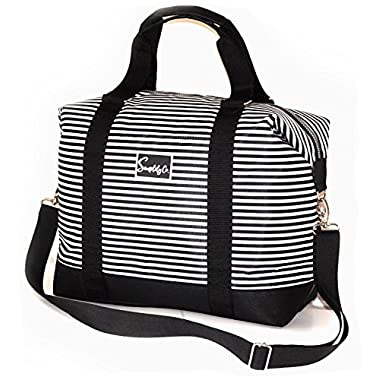 Travel Weekender Overnight Carry-on Shoulder Duffel Tote Bag (8  x 12  x 16 (Large), Black & White Stripes)
