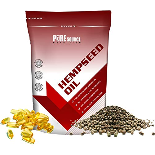 Pure Source Nutrition Hemp Seed Oil 1000mg x 360 Softgels Capsules Hempseed Cold Pressed High Strength Omega 3 Omega 6 – GMO Free Gluten Free Lactose Free