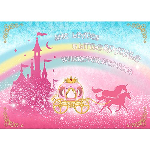 Allenjoy 5x3ft Royal Princesses Backdrop Pink Sparkling Castle Carriage Princess Birthday Party Decoration Fairytale Princess Backdrop for Birthday Party