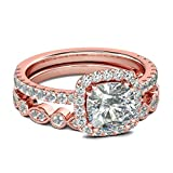 Gsdviyh36 2Pcs/Set Women Emerald Cut Cubic Zirconia Stacking Finger Ring Wedding Jewelry Valentine's Day Charming Jewelry Gift Clothing Accessories Rose Gold US 9
