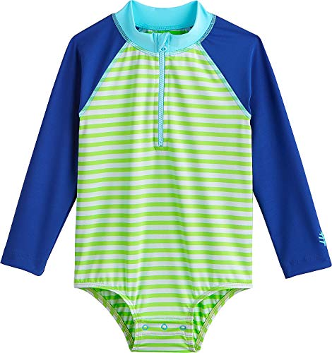 Coolibar UPF 50+ Baby Wave One-Piece Swimsuit - Sun Protective (6 Months- Lime Green/White Stripe)