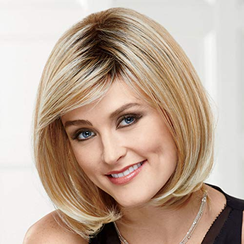 Shannon Versafiber Wig by Paula Young - Mid-Length, Straight Bob Wig In Heat-Resistant, Curlable Fiber / Multi-tonal Shades of Blonde, Grey, Brown, and Red