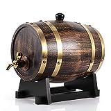 Oumefar Barril de Vino de Madera de Roble 3L Decoración de Grano de Madera Retro Cubo de Vino de Madera de Roble Contenedor Vino Brandy Whisky Bourbon Tequila Barril de Roble con Grifo