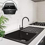 Lavello da Cucina Lavello a 1 vasca Lavello in Granito con Scolapiatti, Rettangolare, Reversibile, in 5 Colori Dimensione 75,9 x 45,9 cm (Nero)