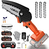 JPOWTECH Mini Chainsaw Cordless, 4 Inch Electric Chain Saw with 2pcs 1500mAh Rechargeable Lithium-ion Battery Powered One-Hand Operated Portable Small Chainsaw for Wood Cutting, Tree Pruning (Orange)