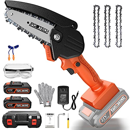 JPOWTECH Mini Chainsaw Cordless, 4 Inch Electric Small Chain saw