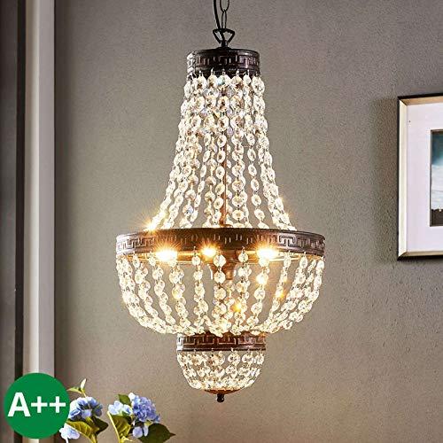 Lindby Pendelleuchte 'Jorve' dimmbar (Kristall) in Transparent aus Kristall u.a. für Wohnzimmer & Esszimmer (5 flammig, G9, A++) - Deckenlampe, Esstischlampe, Hängelampe, Hängeleuchte,