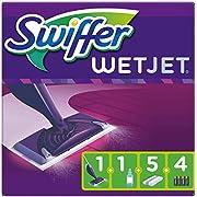 Swiffer WetJet Balai Spray, Kit complet 1 Balai Spray + 5 Lingettes + 1 Solution Nettoyante Liquide + 4 Piles