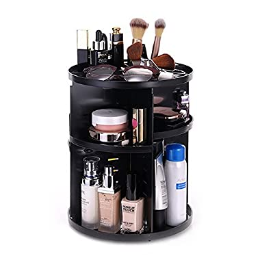 Vovoly Makeup Organizer Cosmetic Bathroom Storage Box, 360 Degree Rotation Makeup Organizer Adjustable fits for Cosmetics Sets Round shape,Large Capacity,Fits Creams, Makeup Brushe,Black